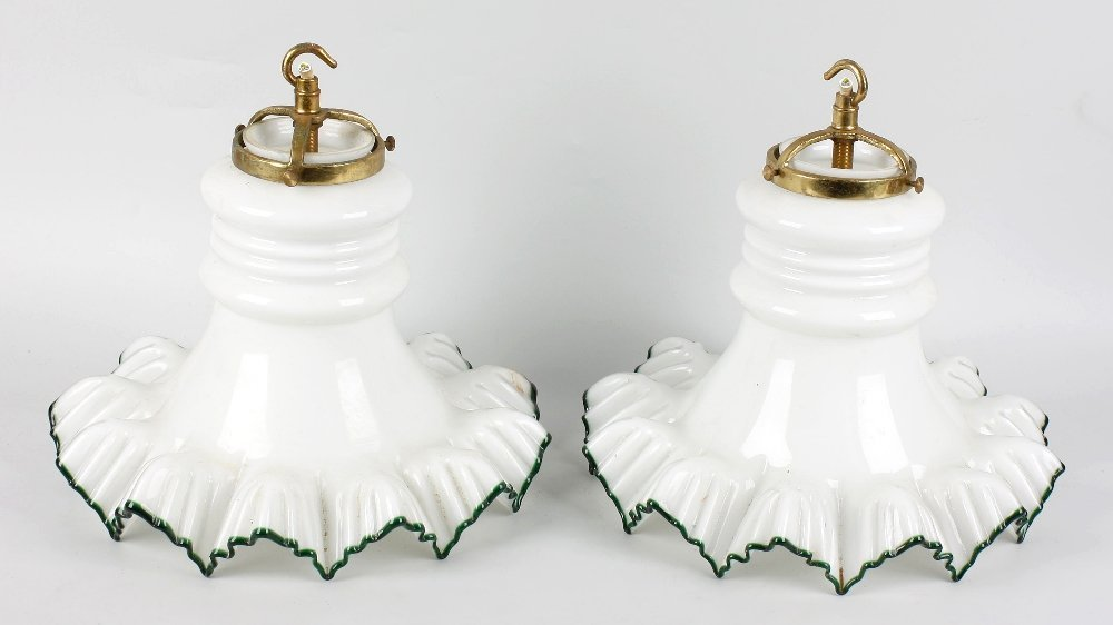 Three overlay (white on clear) frilled glass lampshades
