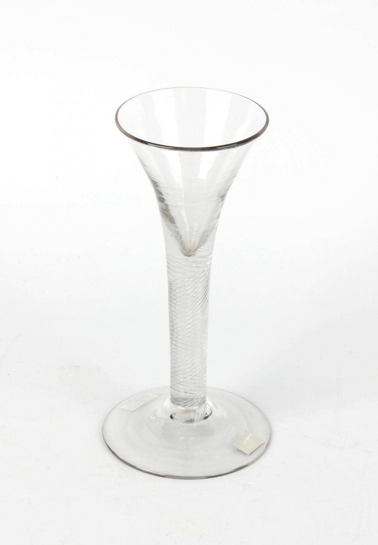 A mid 18th century cordial glass