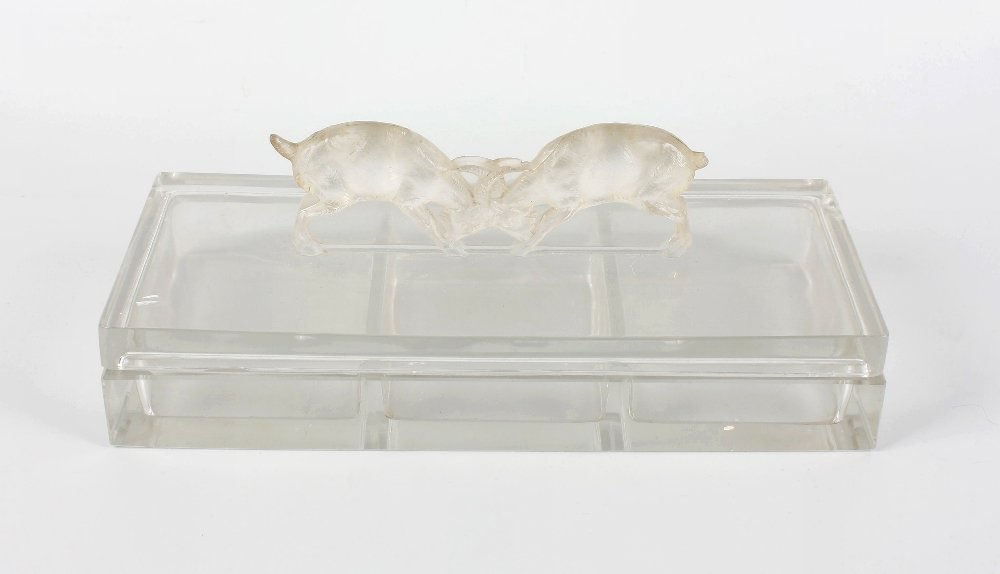 A Rene Lalique 'Deux Chevres' clear glass box and cover