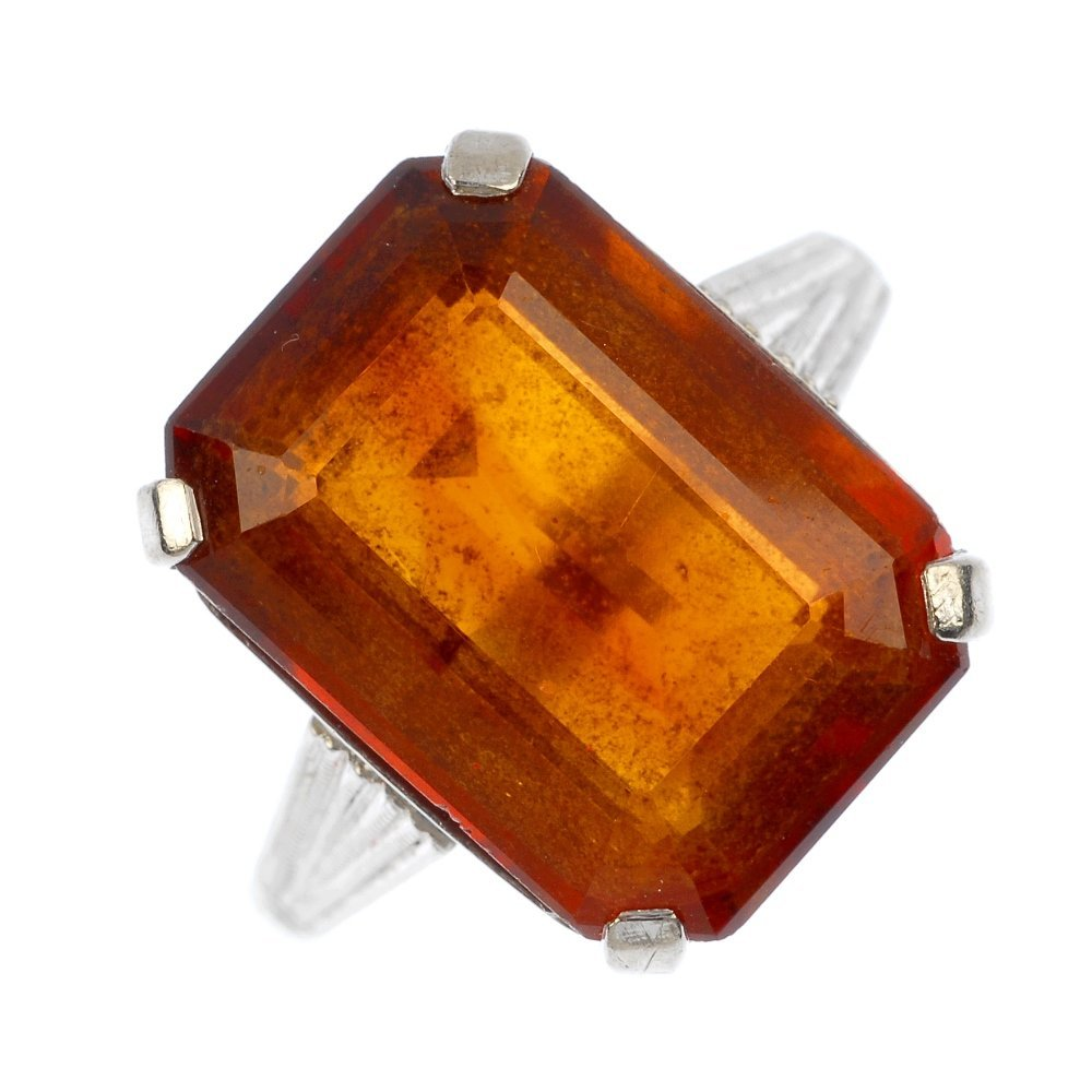 A mid 20th century 18ct gold citrine ring.
