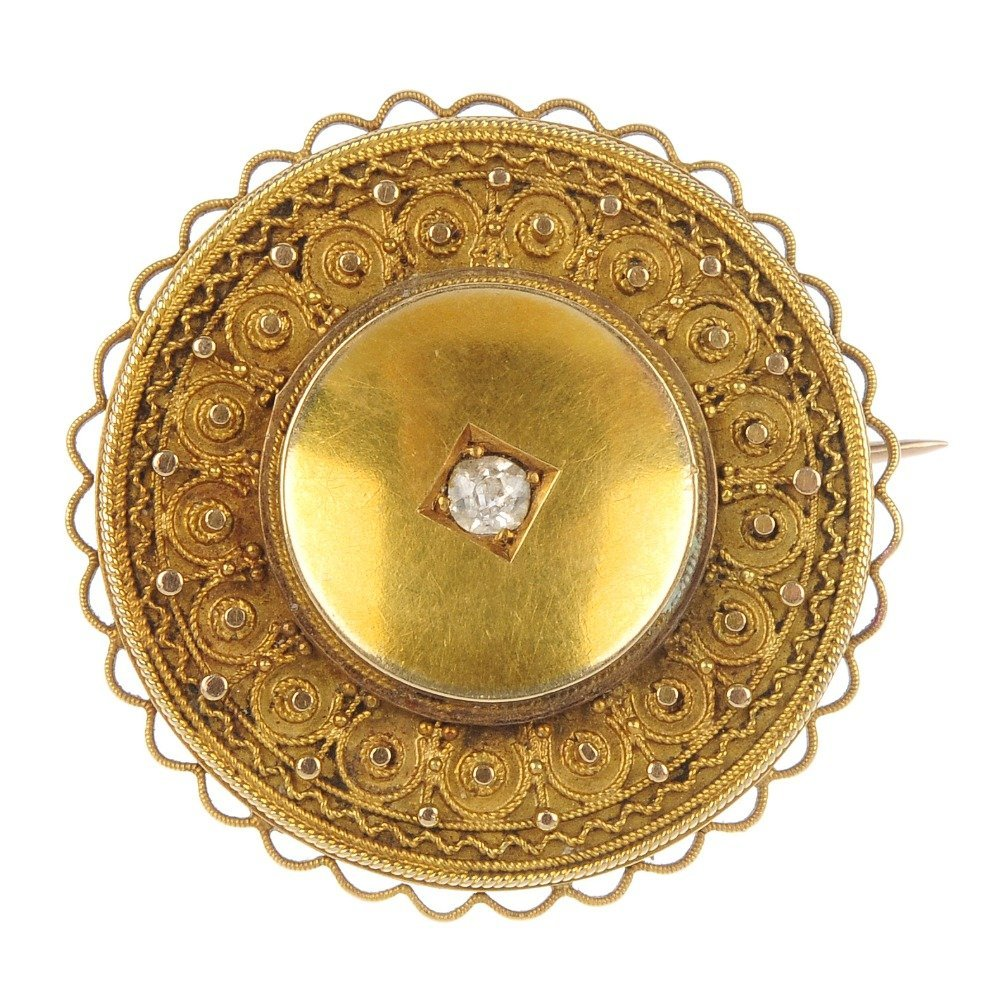 A late 19th century 15ct gold diamond brooch.