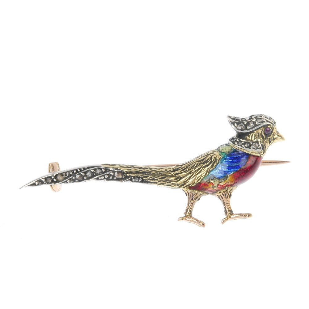 A mid 20th century diamond and enamel pheasant brooch.