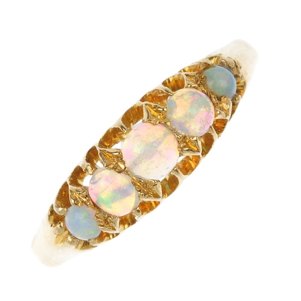 A late Victorian 18ct gold opal five-stone ring.