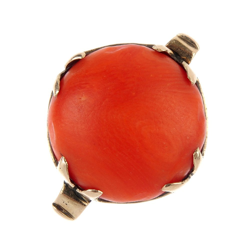 A mid 20th century 9ct gold coral dress ring.