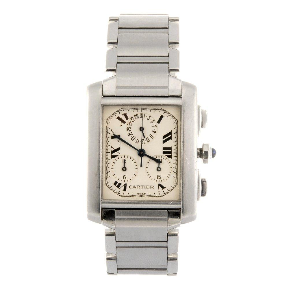 A stainless steel quartz chronograph Cartier Tank