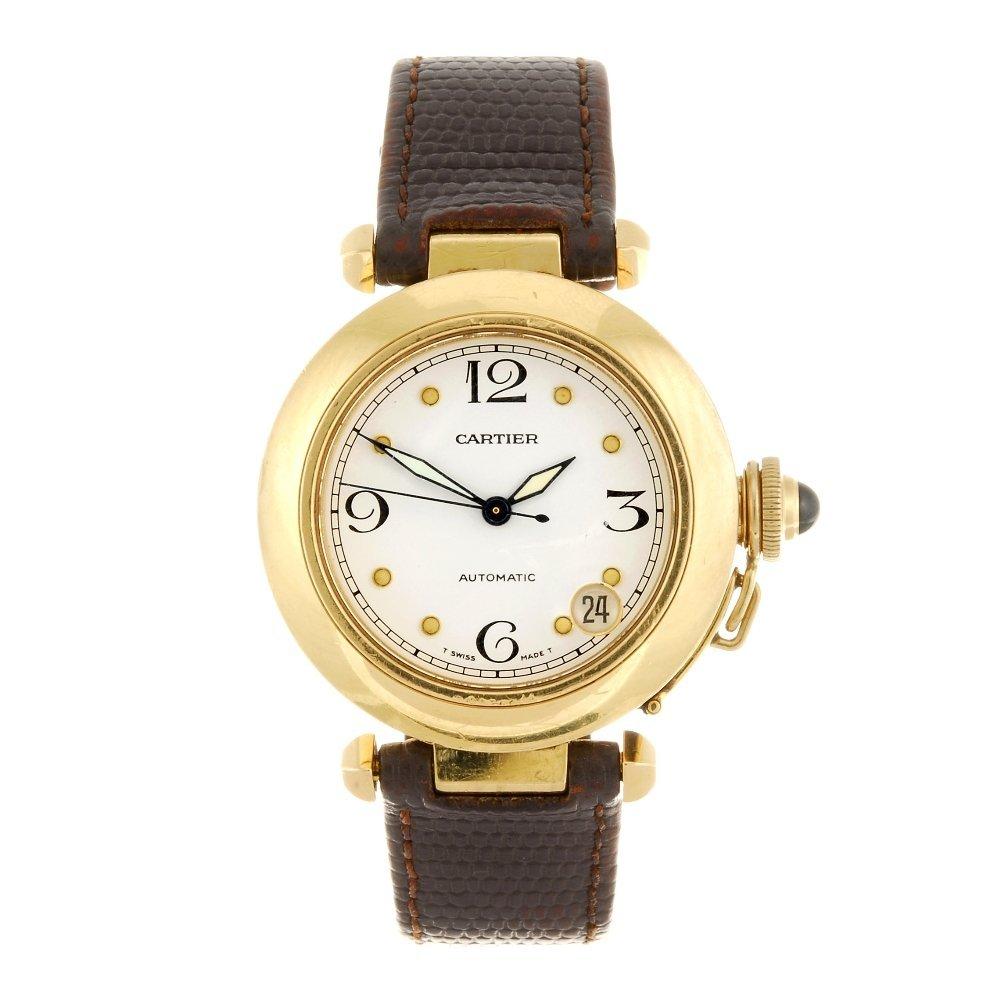 (405063514) An 18k gold automatic Cartier Pasha wrist