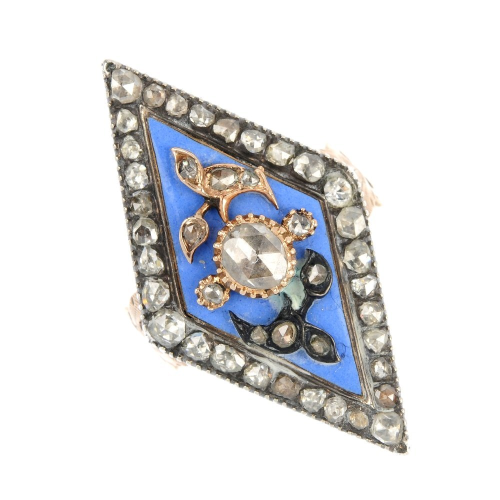 An enamel and diamond dress ring.