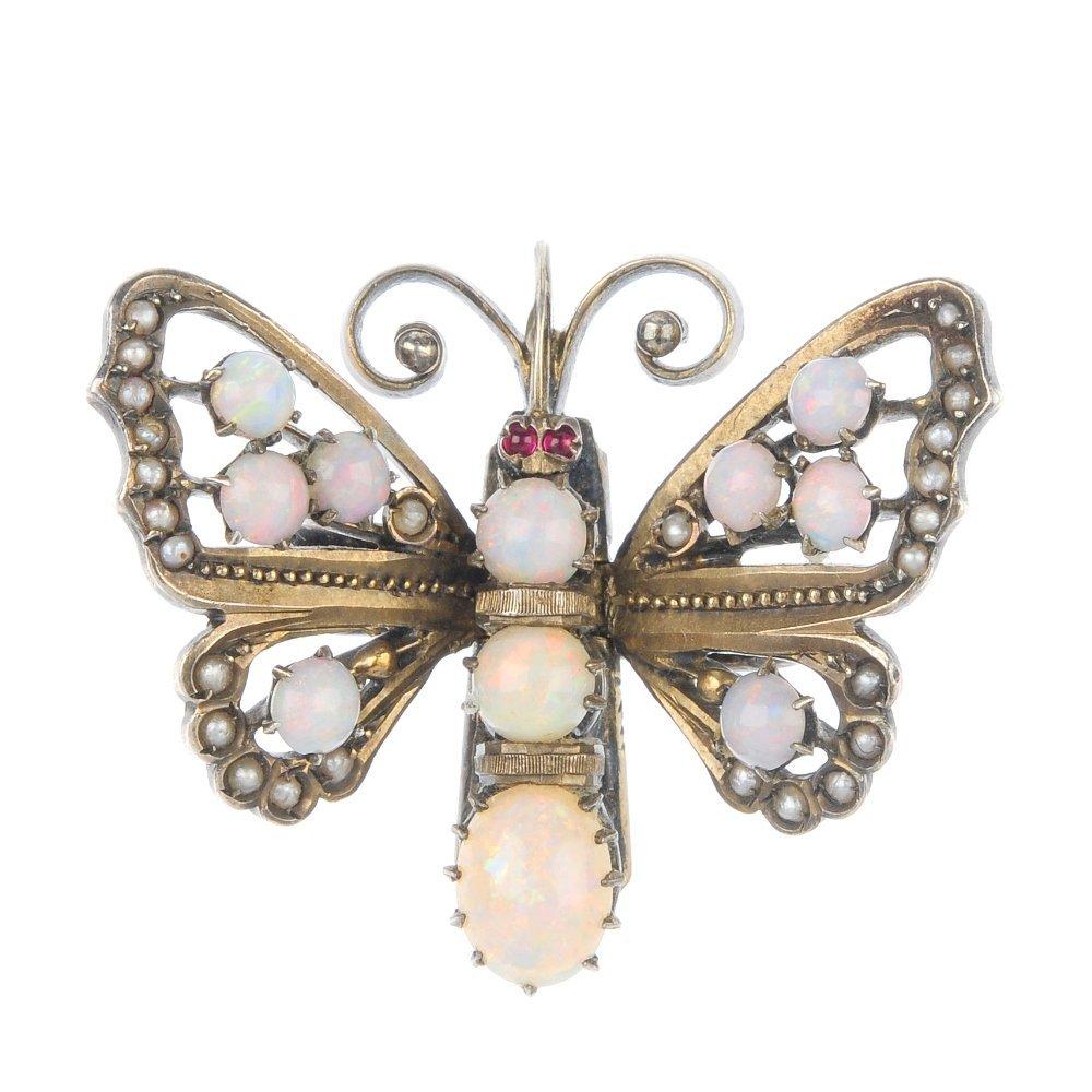 An early 20th century, German silver gem set butterfly.