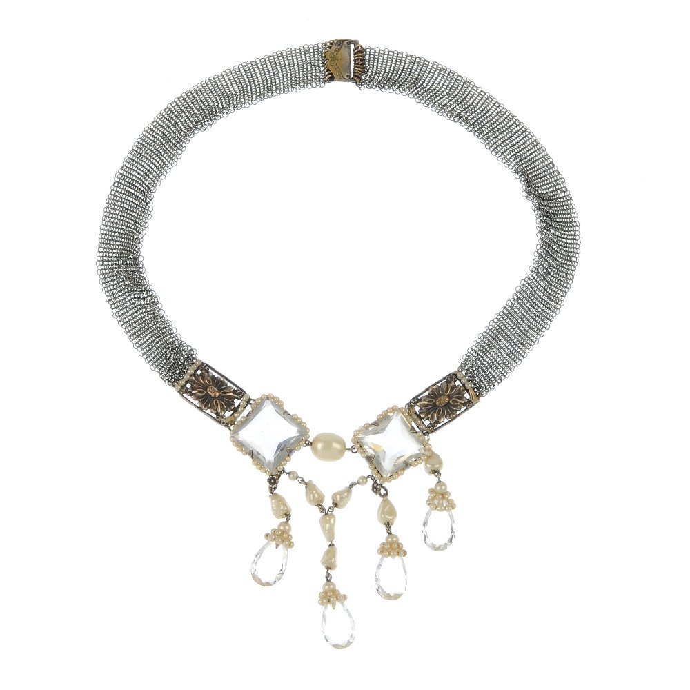 An early 20th century imitation pearl and crystal