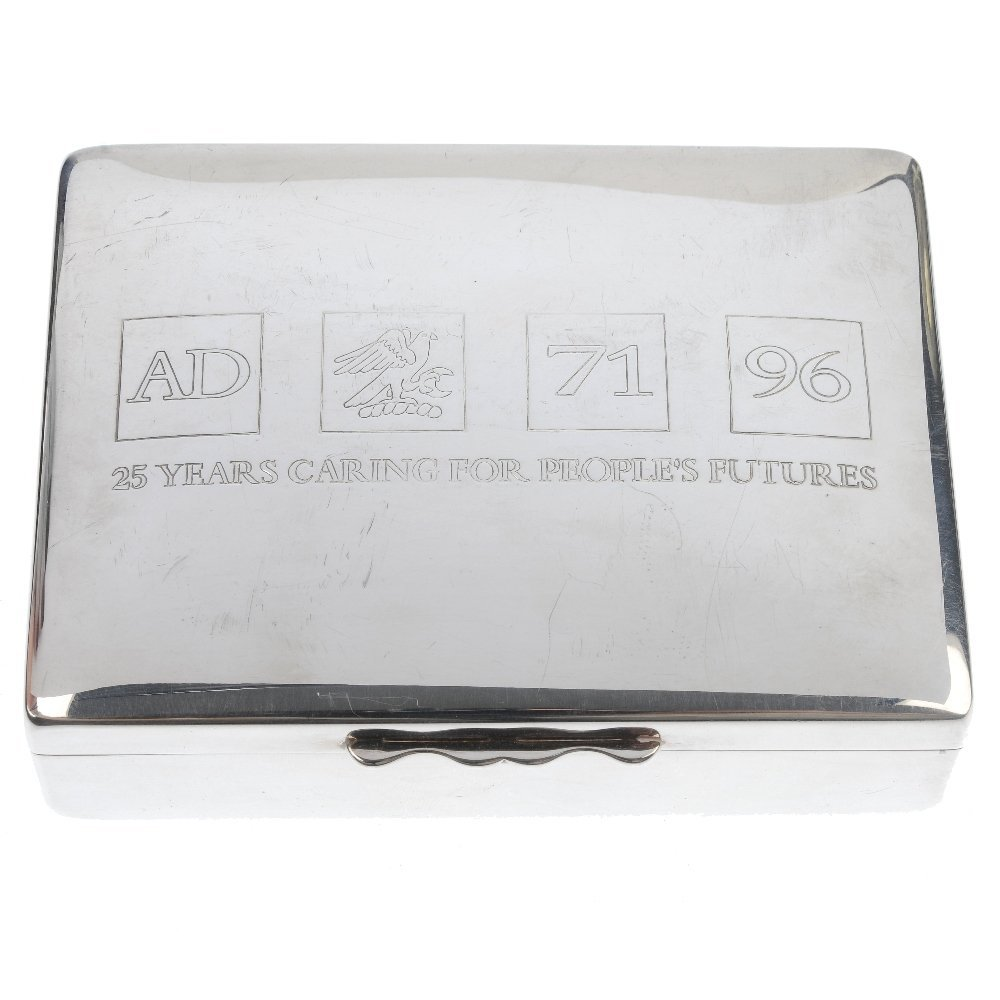 AQUASCUTUM - a silver plated cigarette box and a pair