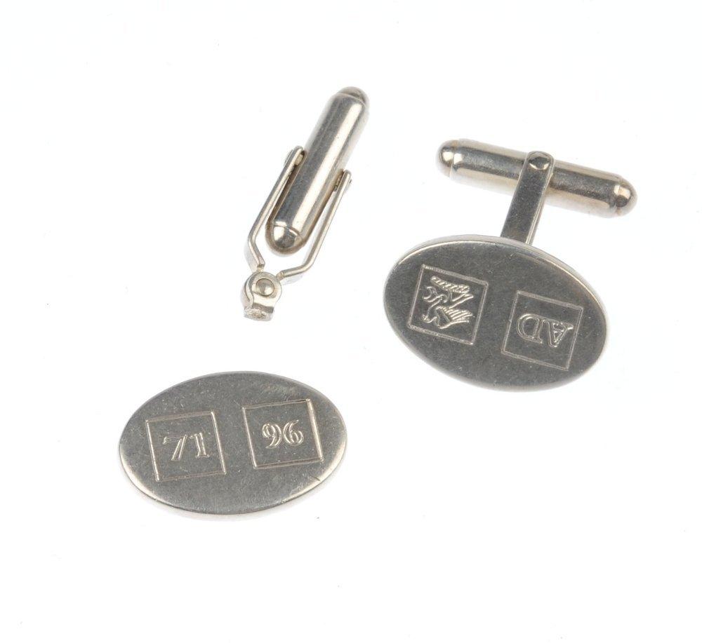 AQUASCUTUM - a silver plated cigarette box and a pair - 4