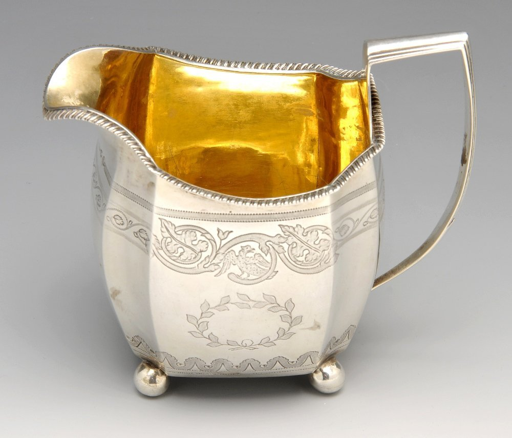 A late George III silver cream jug.