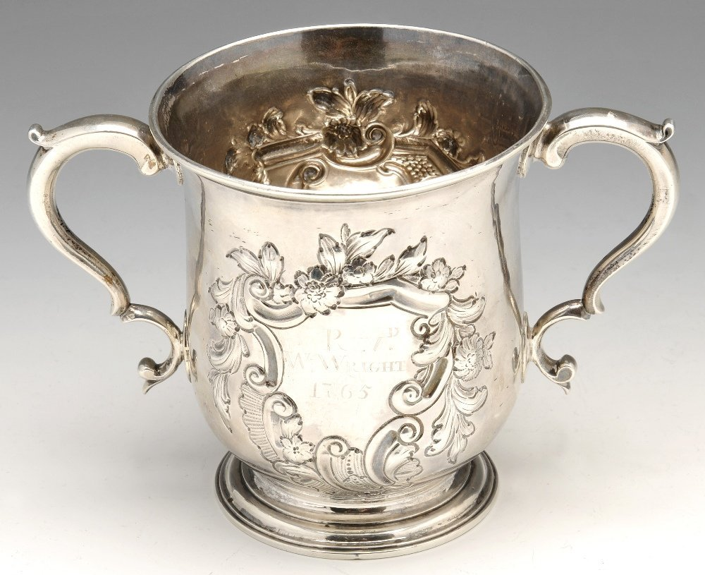 An early George III silver twin handled cup.