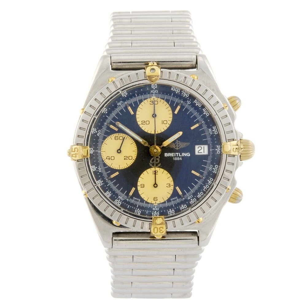 A stainless steel gentleman's Breitling chronograph