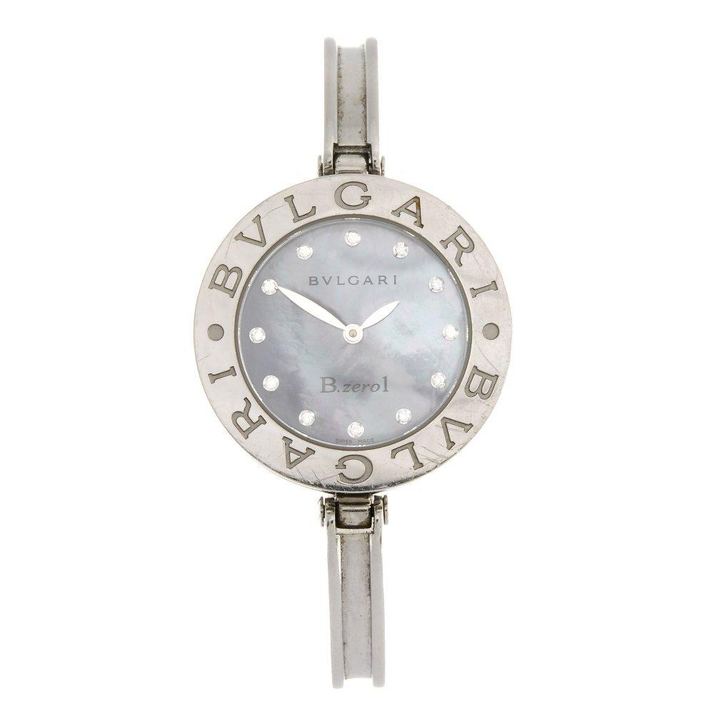 A stainless steel quartz Bulgari B.Zero1 bangle watch.