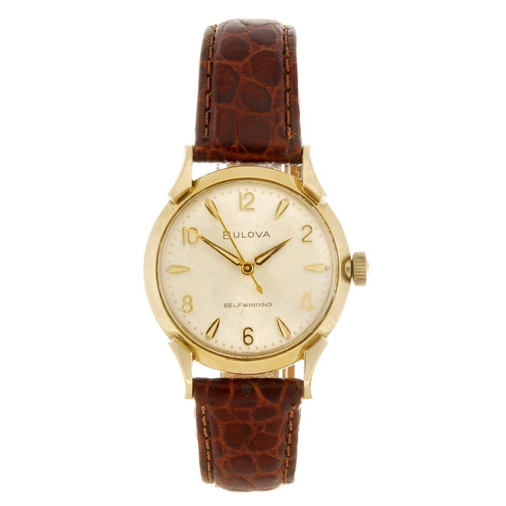 A gold plated automatic gentleman's Bulova wrist watch.