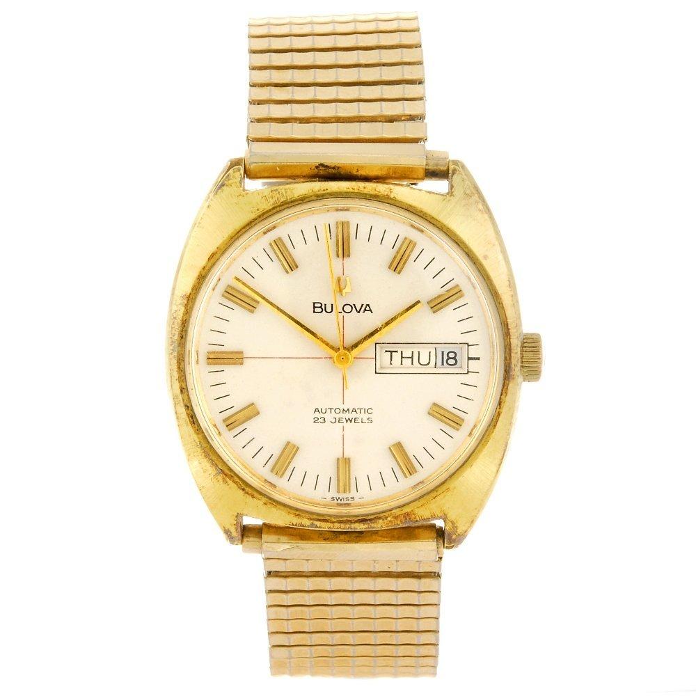 A gold plated gentleman's Bulova wrist watch together
