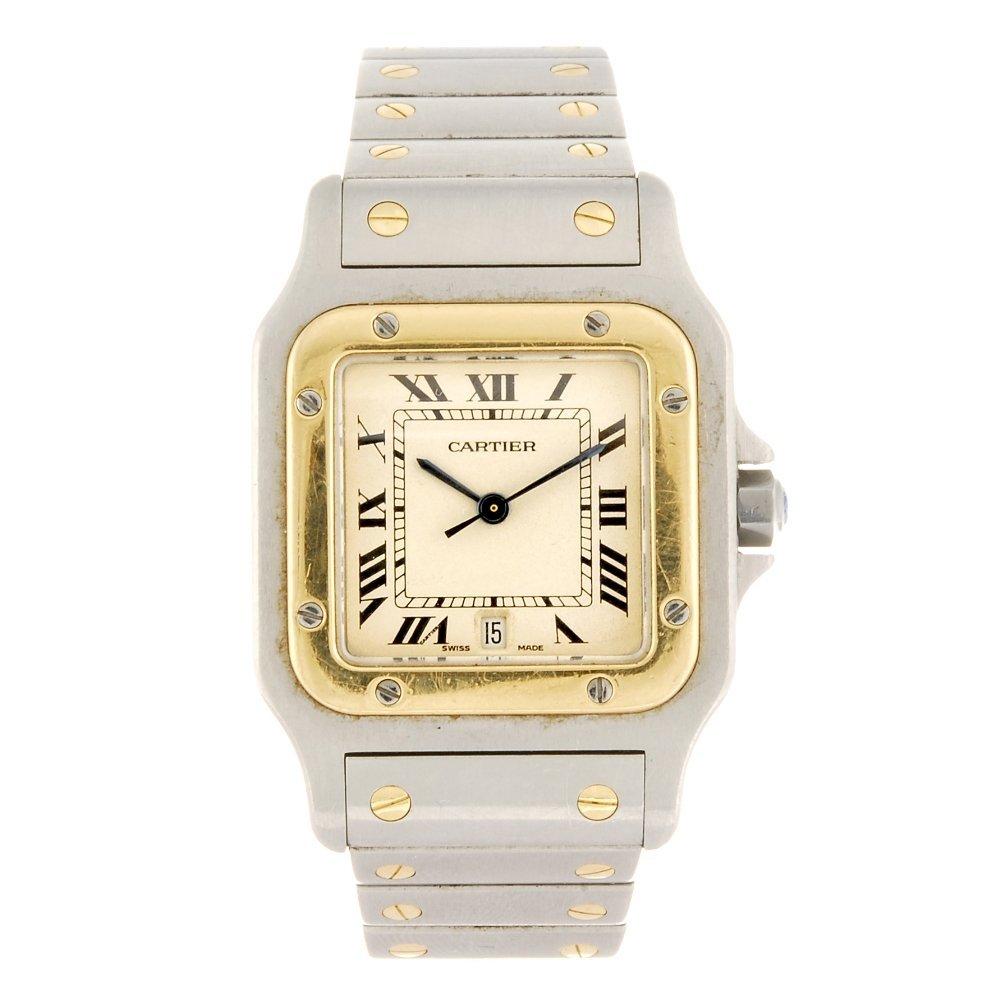 (701015147)  a bi-metal quartz Cartier Santos bracelet