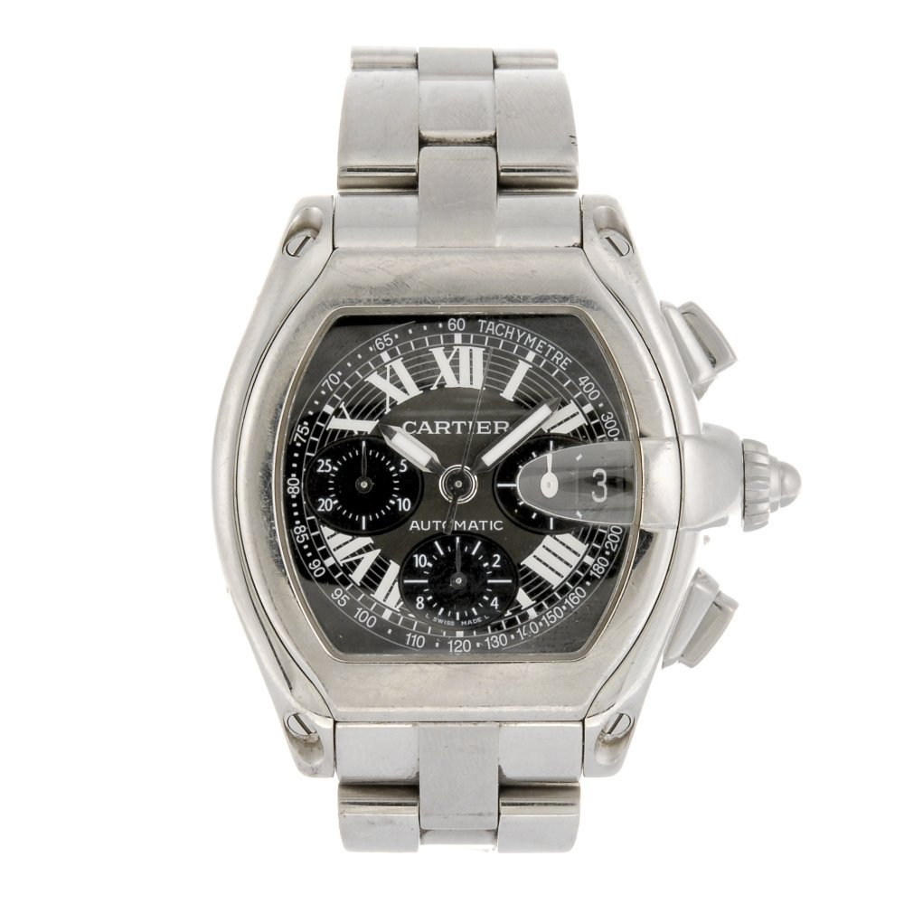 (107221) A stainless steel automatic Cartier Roadster