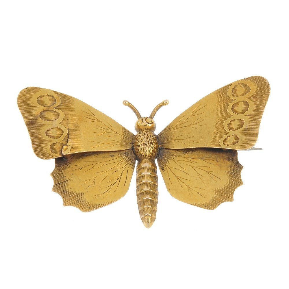 A late 19th century 15ct gold butterfly brooch.