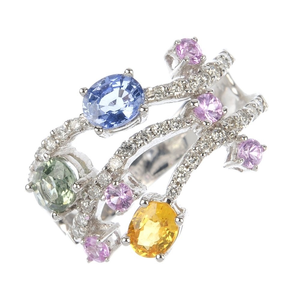An 18ct gold diamond and sapphire dress ring.