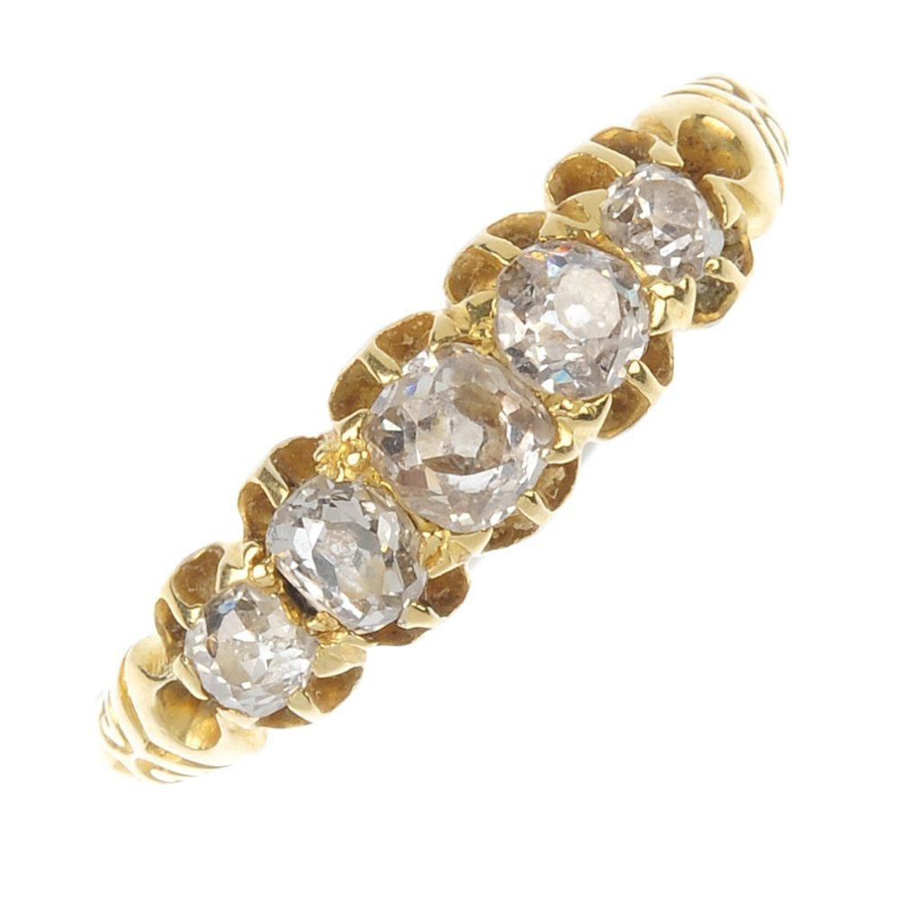 A late Victorian 18ct gold diamond five-stone ring.