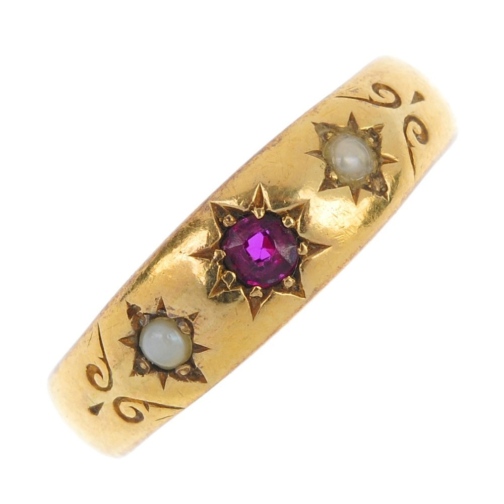 A late Victorian 22ct gold ruby and split pearl ring.