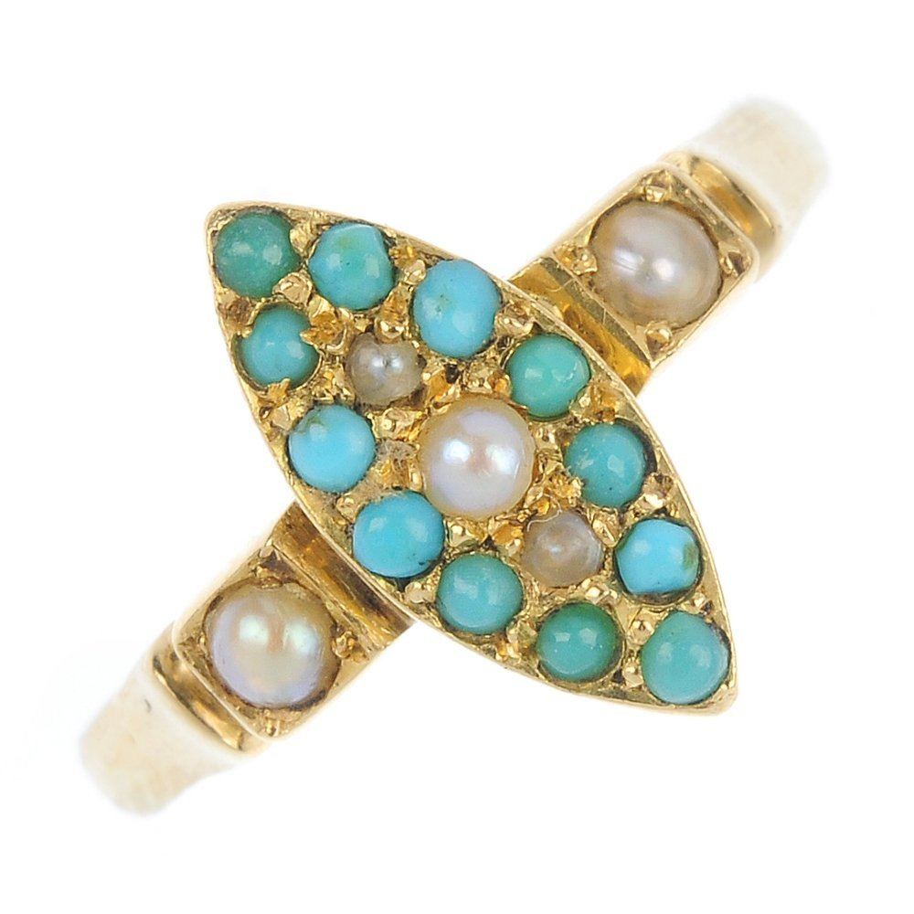 A turquoise and split pearl ring and pair of earrings.
