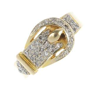 A 14ct gold diamond buckle ring.