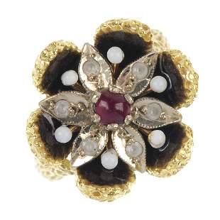 An enamel and gem-set floral ring.