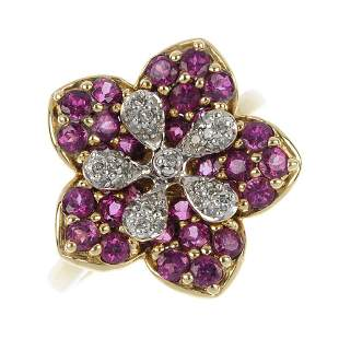 A 9ct gold diamond and gem-set floral ring.
