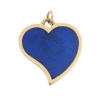 GUCCI - a 9ct gold enamel heart pendant.