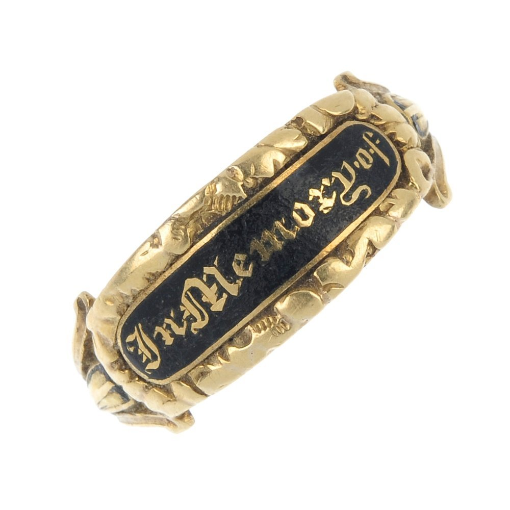 A late George III 18ct gold enamel memorial ring.
