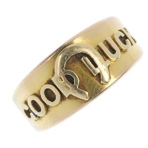 A late Victorian 15ct gold 'Good Luck' ring.
