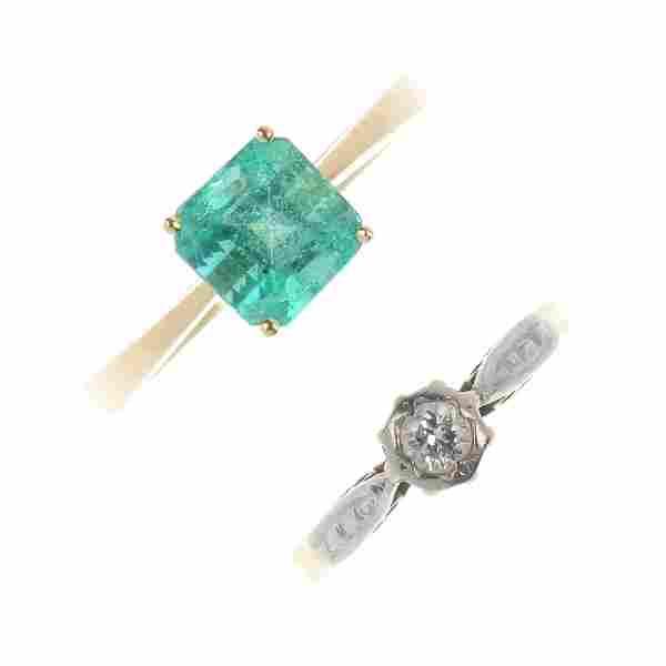 Two 18ct gold gem-set rings.