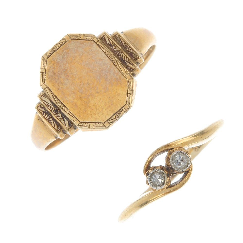 Two mid 20th century gold rings.