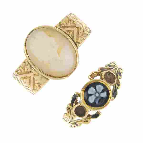 Two Victorian 18ct gold rings.