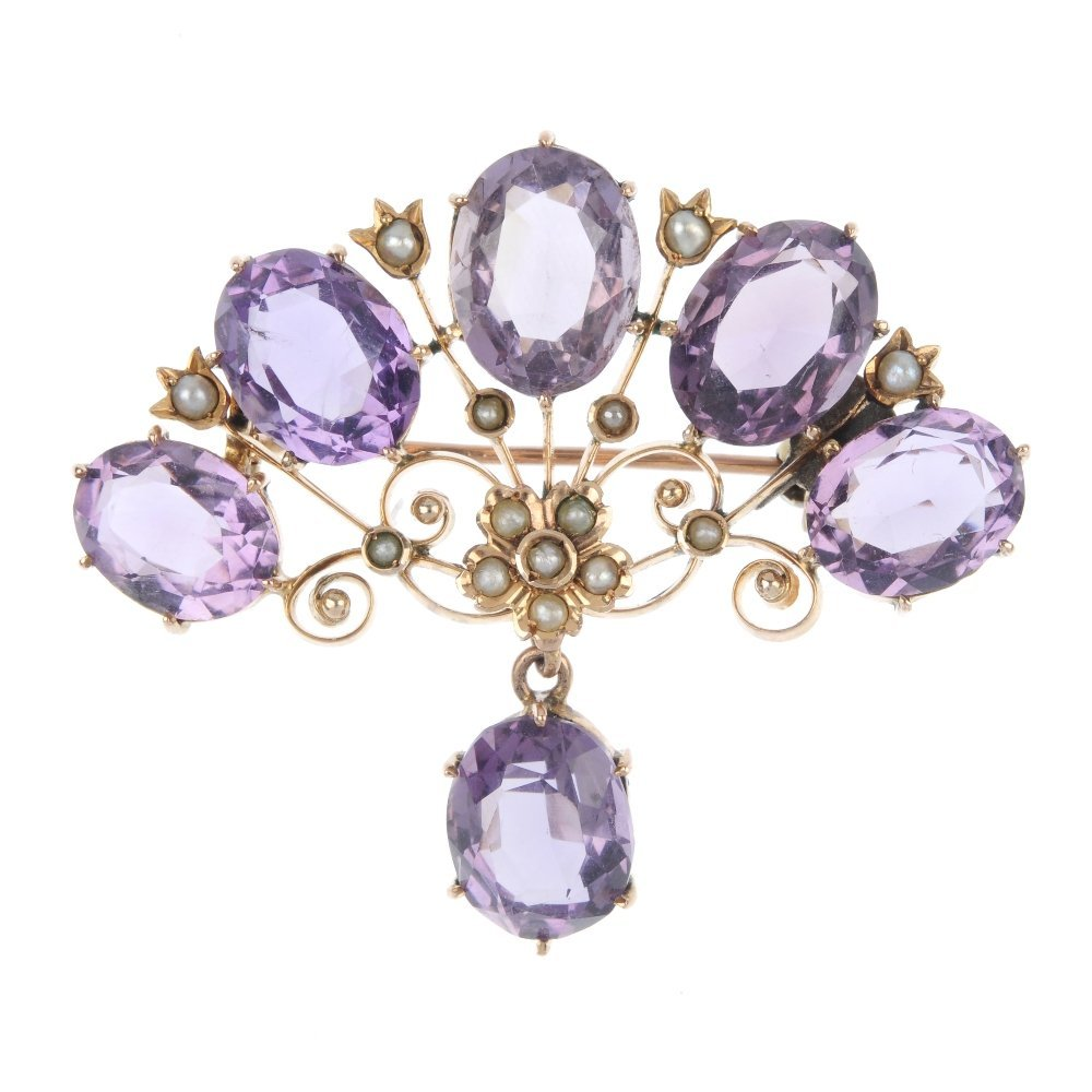 An early 20th century 9ct gold amethyst and split pearl