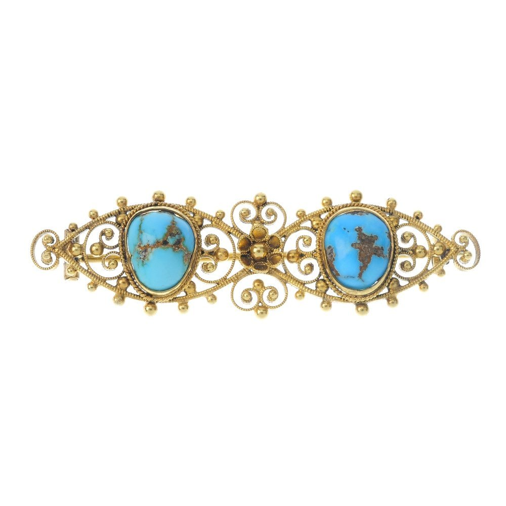 A late Victorian 9ct gold turquoise brooch, circa 1870.