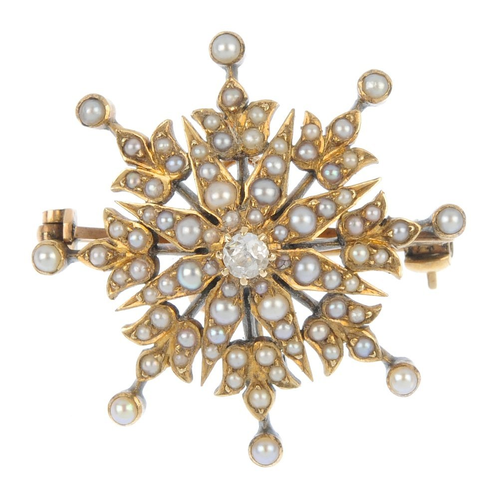A late Victorian gold split pearl and diamond star