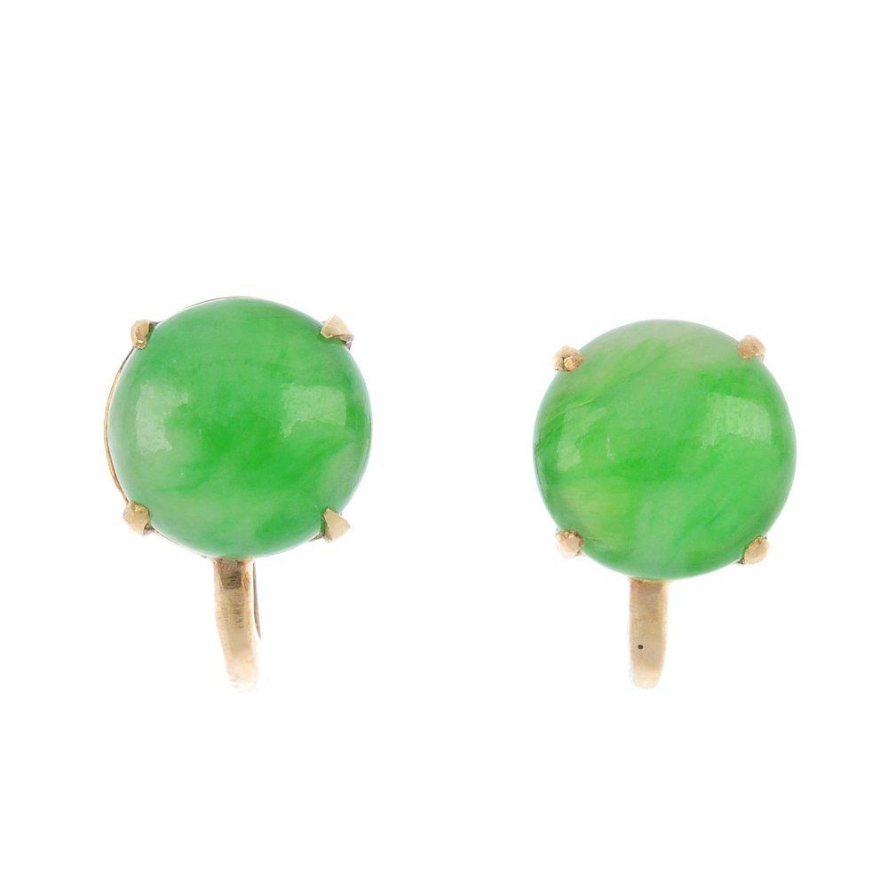 A pair of mid 20th century jade ear clips.