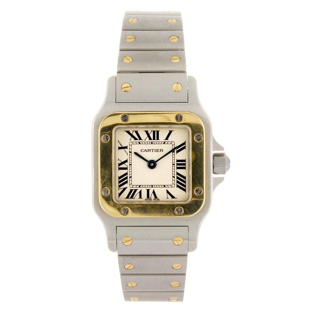 (220987913) A bi-metal quartz Cartier Santos bracelet