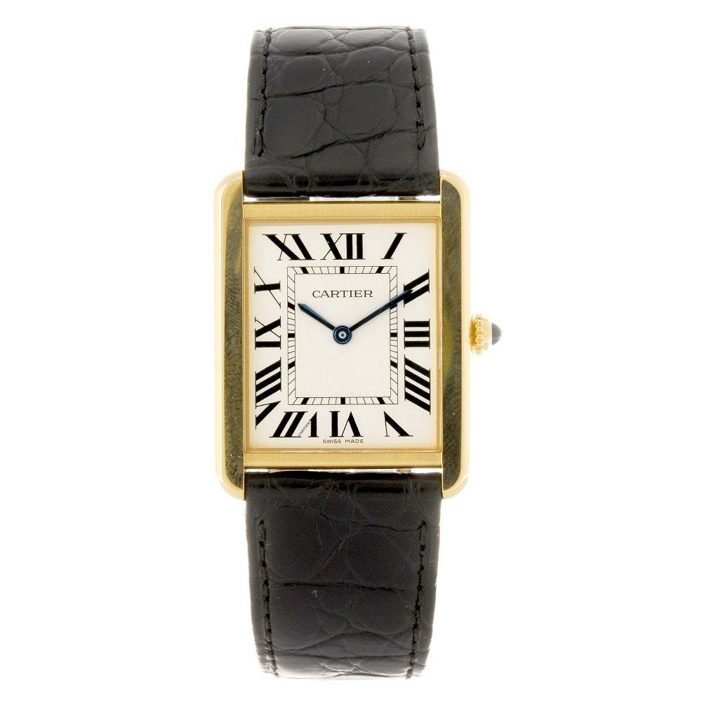 (701015490) An 18k gold quartz Cartier Tank Solo wrist