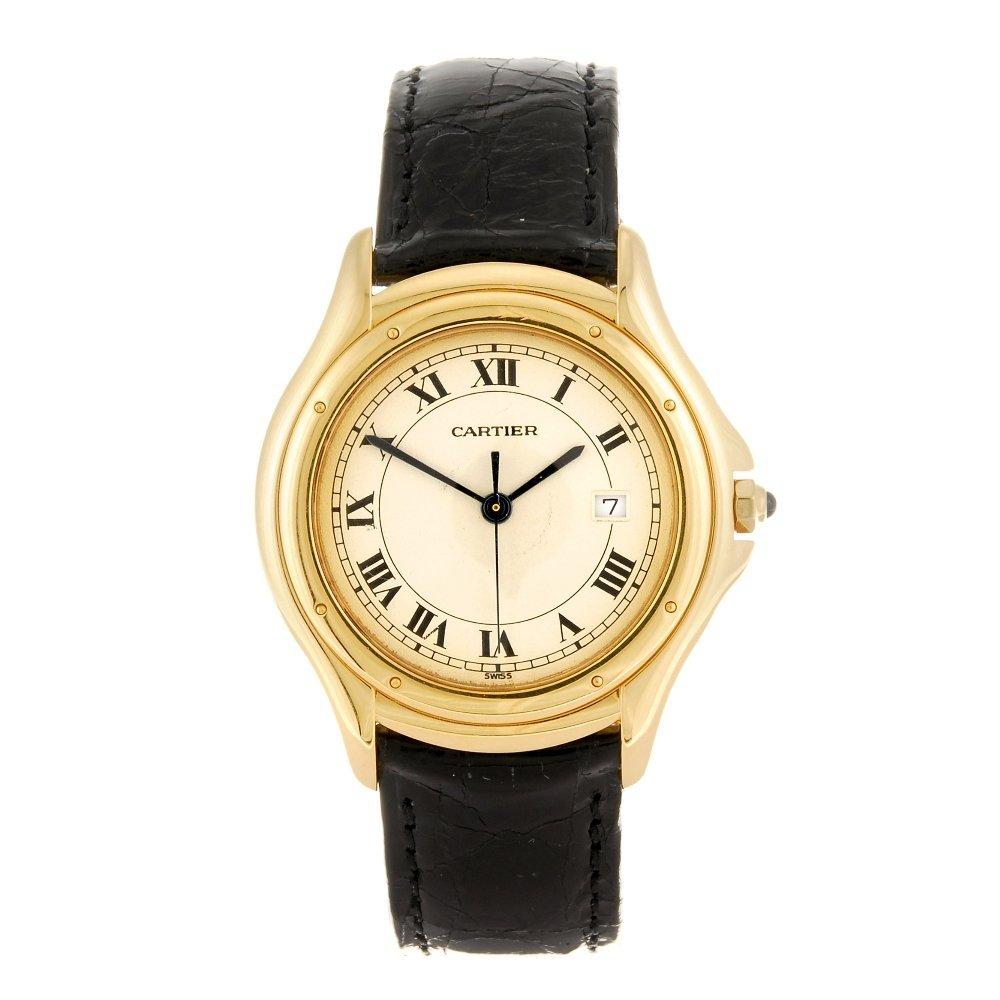 (307094923) An 18k gold quartz Cartier Cougar wrist