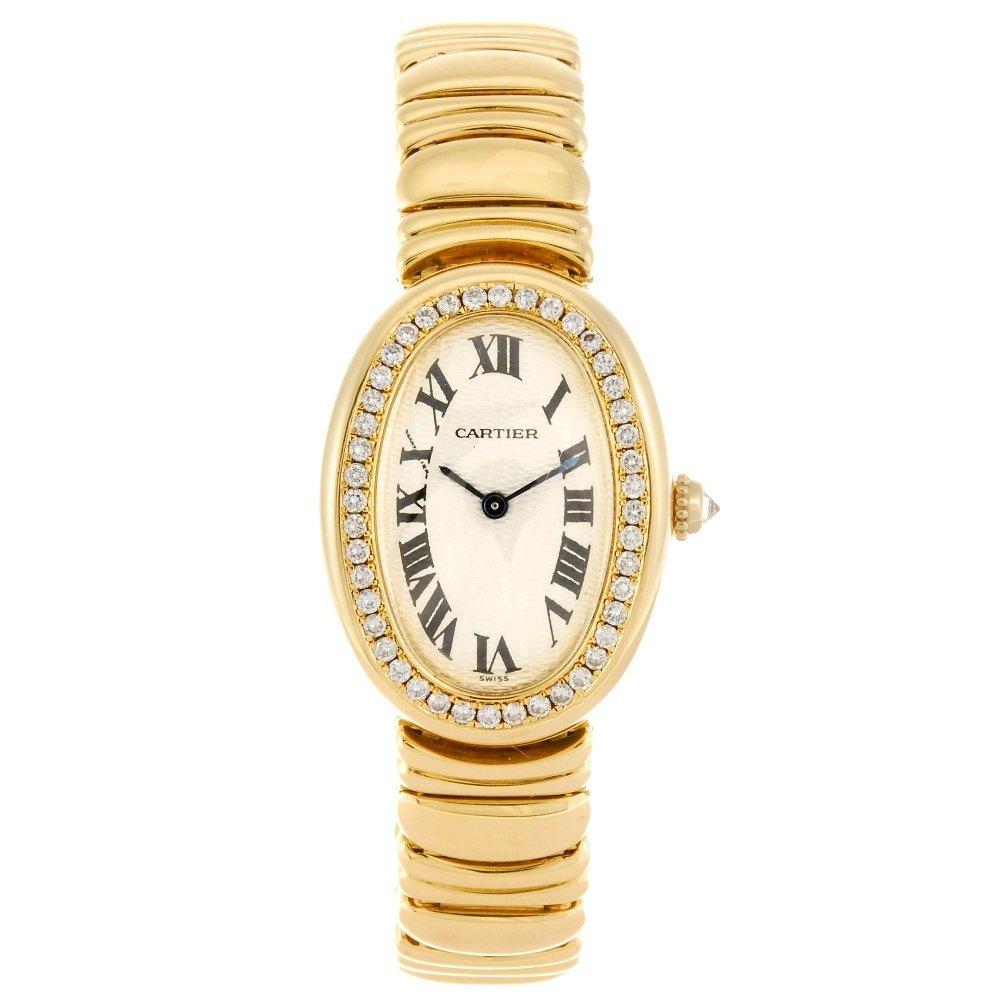 (992033292) An 18k gold quartz Cartier Baignoire