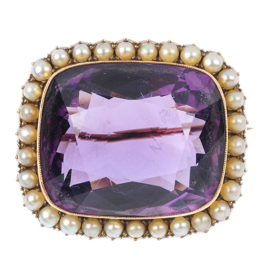 A late 19th century gold, amethyst and split pearl