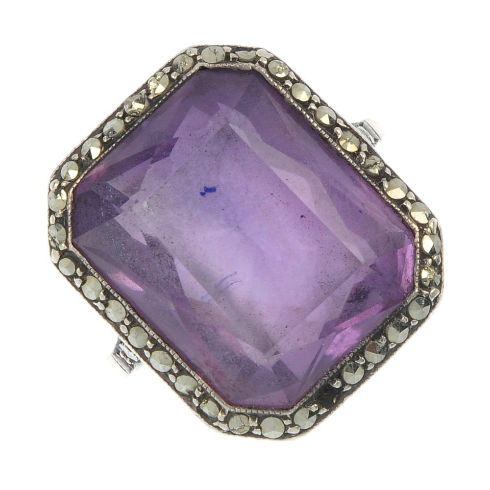 An early 20th century gold and silver amethyst and