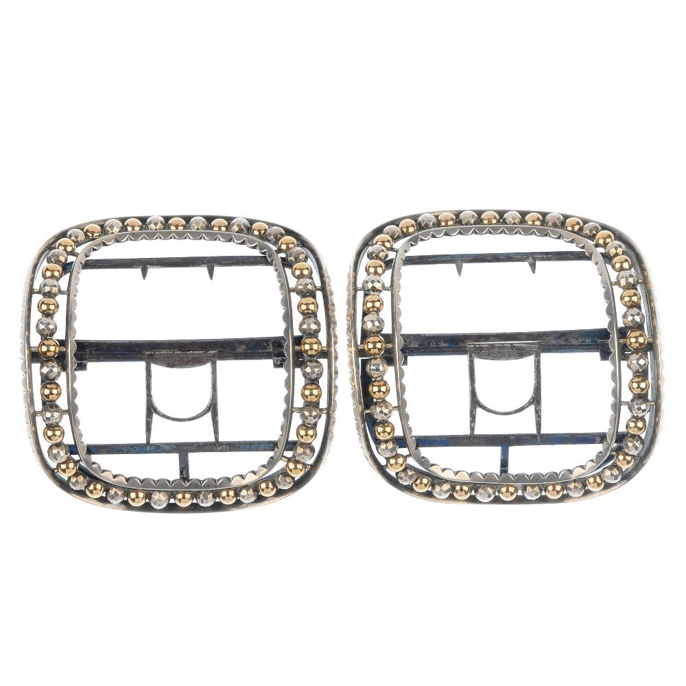 A cased pair of George IV silver dress shoe buckles.