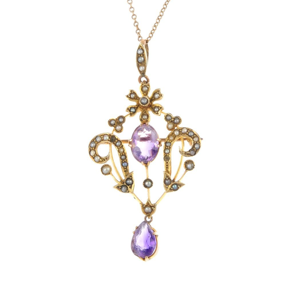 An early 20th century 9ct gold amethyst and seed pearl