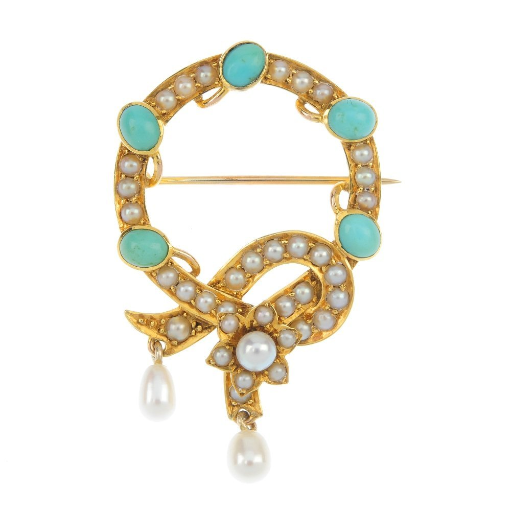 An early 20th century gold turquoise and split pearl